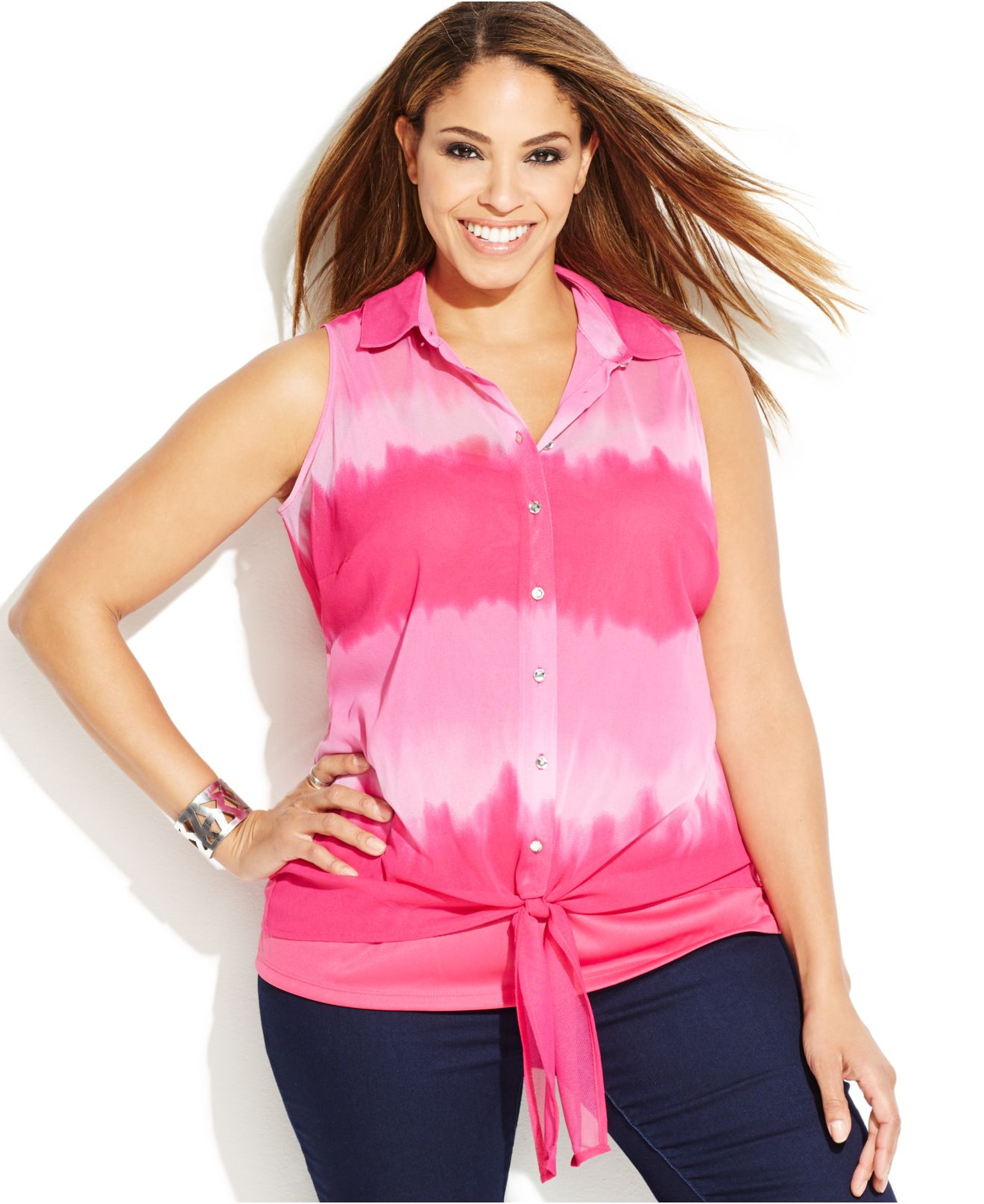 Inc international concepts plus size sleeveless tie dyed for Tie dye sleeveless shirts