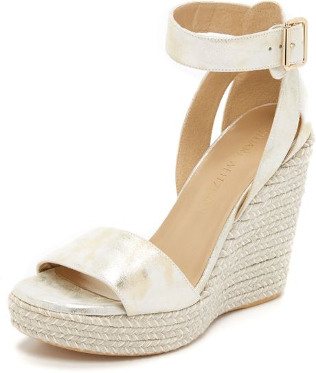 Stuart Weitzman Mostly Wedge Sandals Pale Gold In Gold