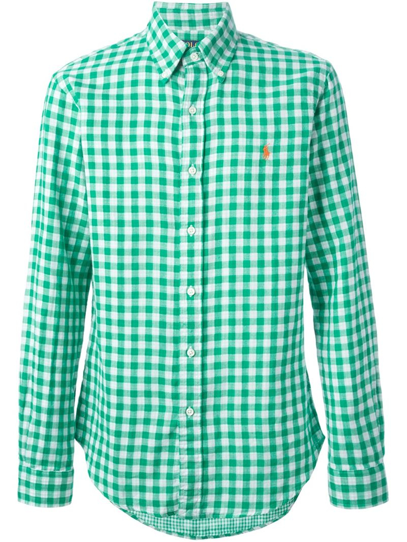Lyst polo ralph lauren button down check shirt in green for Womens green checked shirt