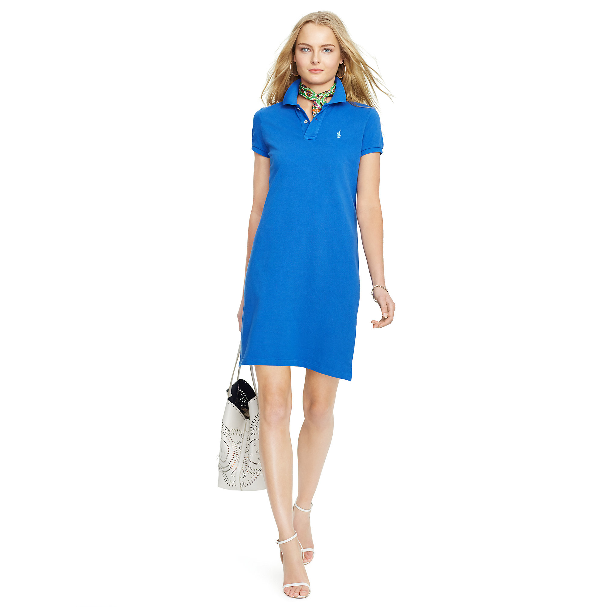 Lyst - Polo Ralph Lauren Cotton Mesh Polo Dress in Blue