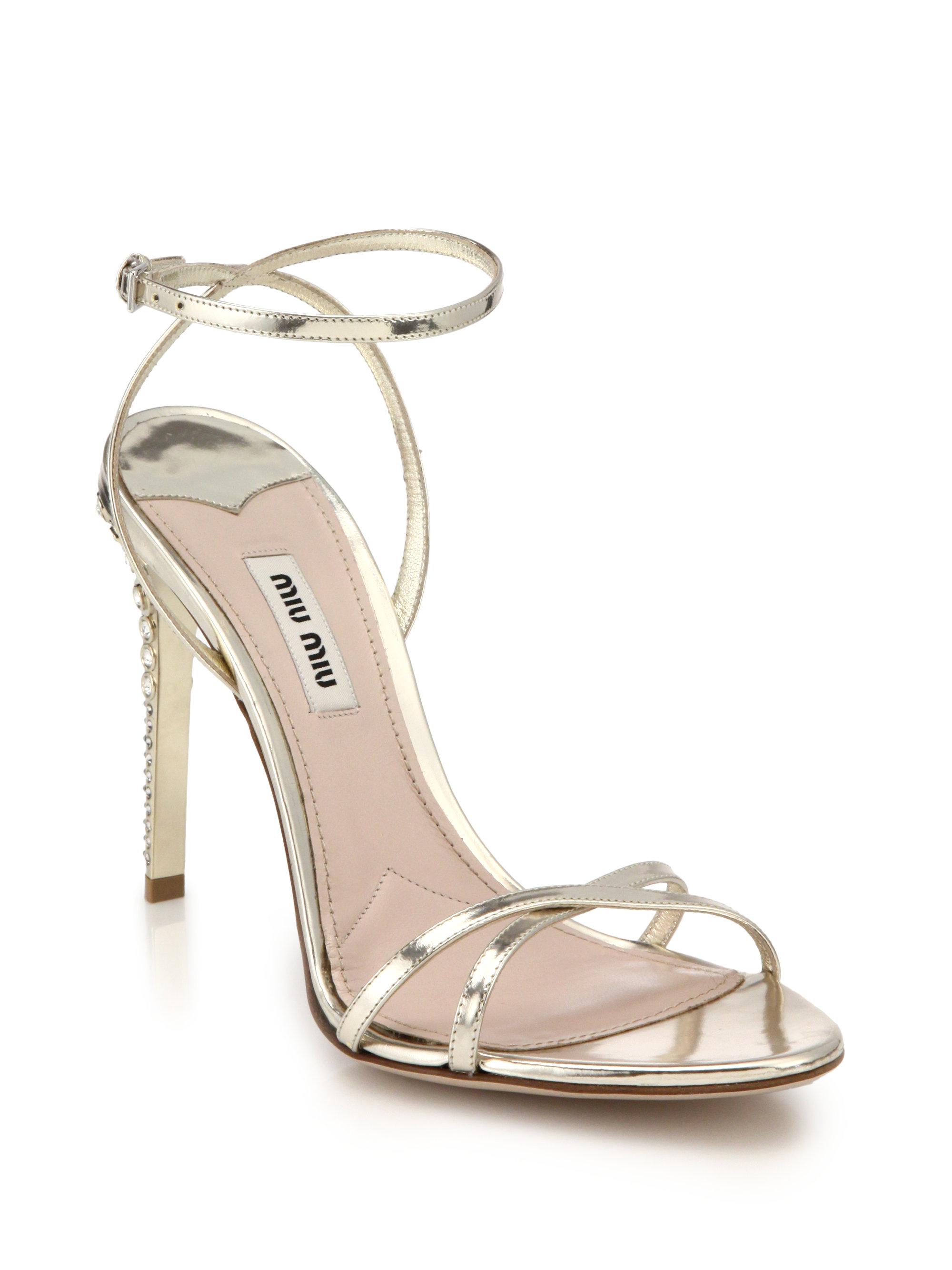 Sandales Talons De Cristal - Miu Miu Métallique ReGsu7xHhJ