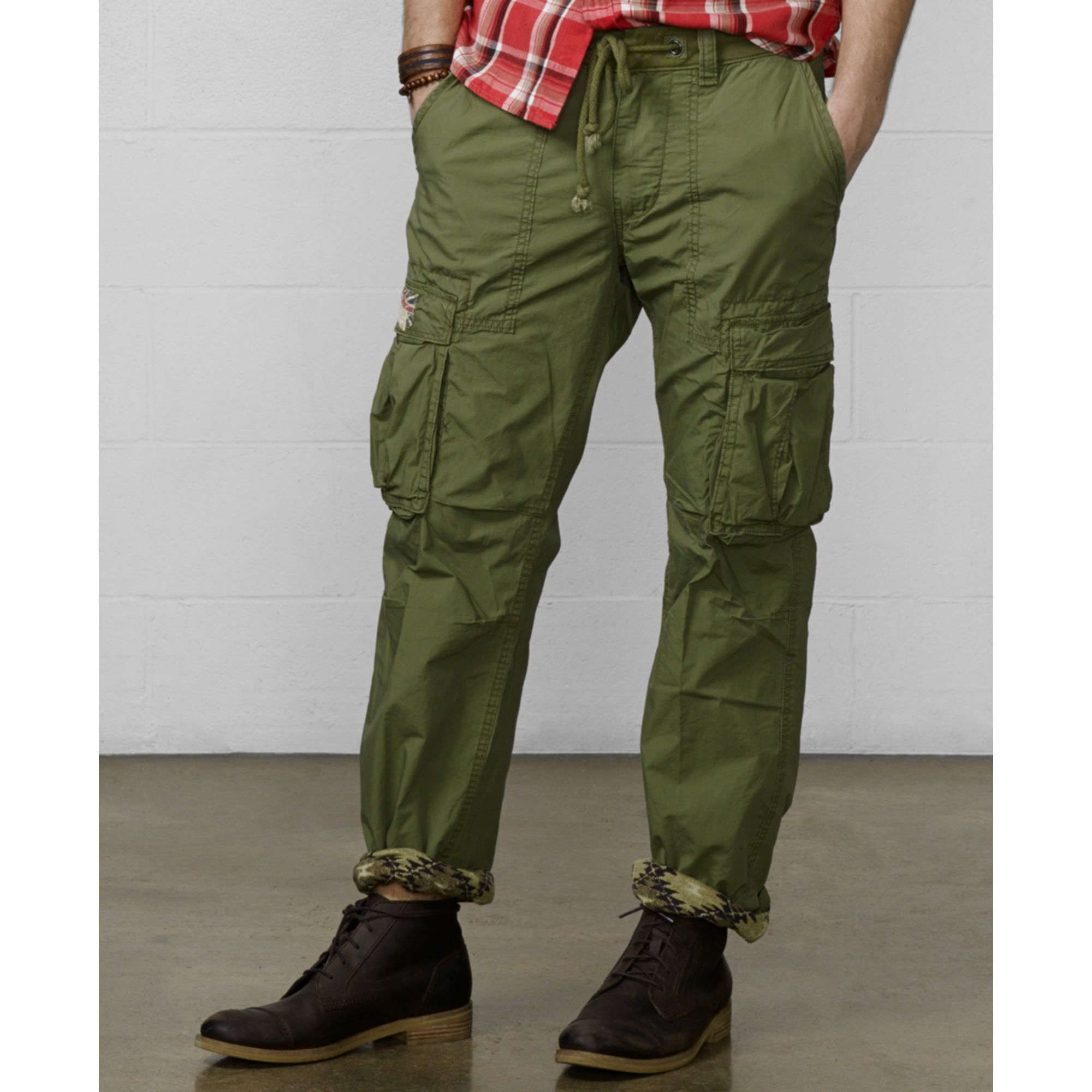 Denim & supply ralph lauren Slimfit Poplin Cargo Pants in Green ...