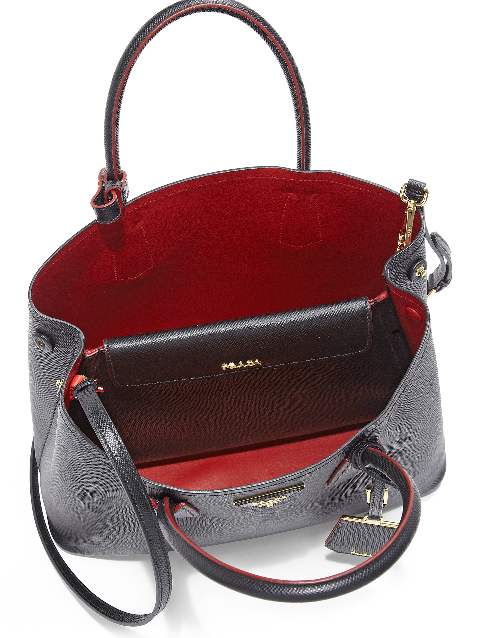e90746cf4dd3 ... canada lyst prada saffiano cuir small double bag in red 14cdf 60123