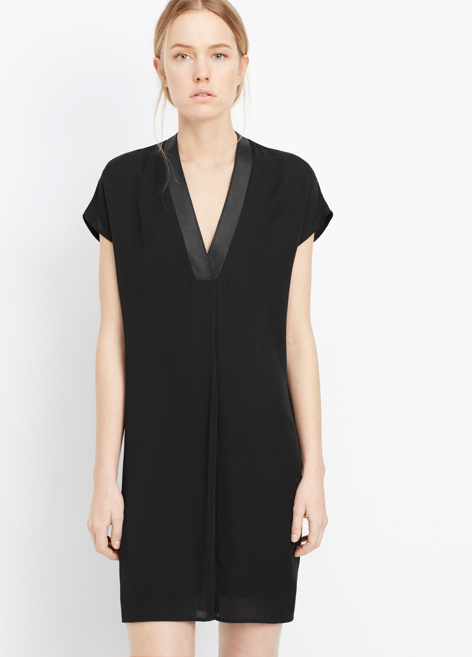 Lyst Vince Silk Popover Dress With Leather Trim In Black