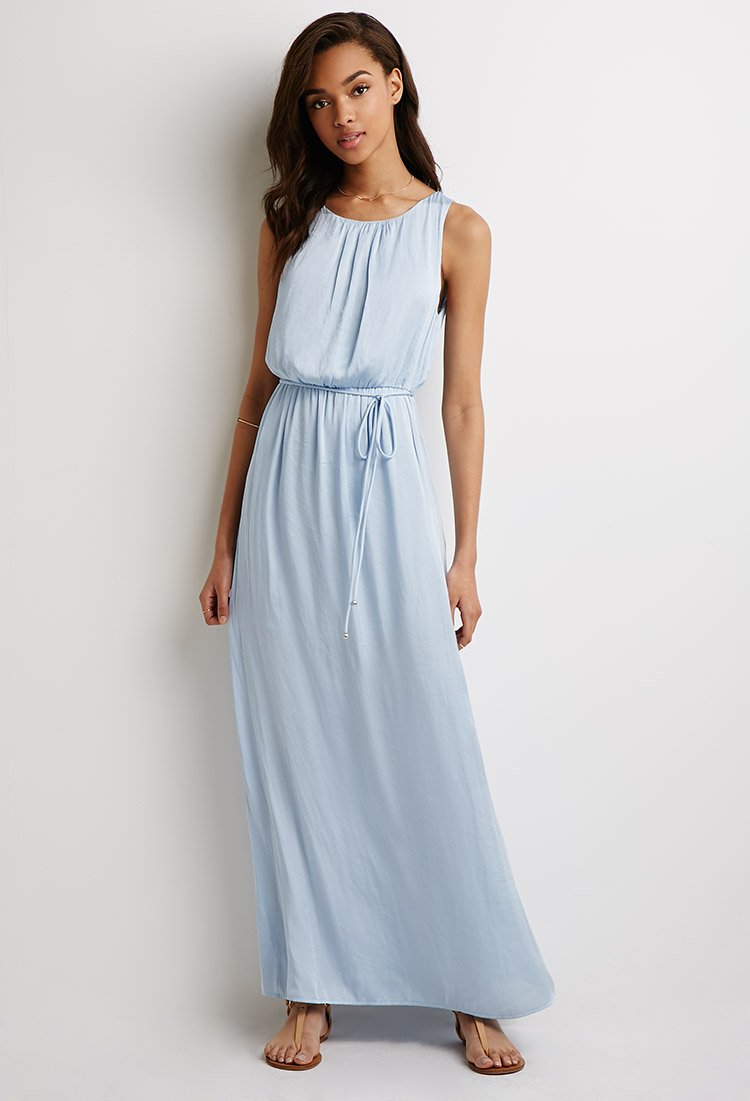 Lyst Forever 21 Belted Satin Maxi Dress You Ve Been Added To The