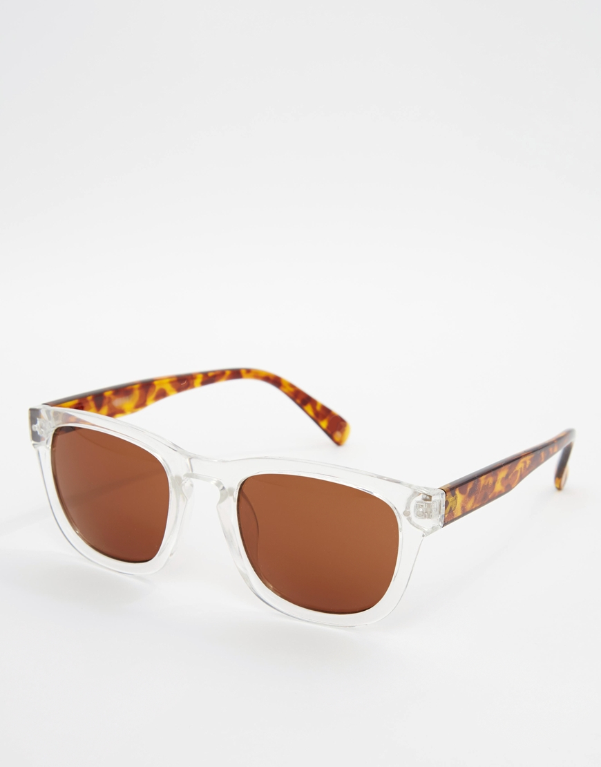 2dbc1b7a15f Lyst - Asos Square Sunglasses With Clear Frame And Tortoiseshell Arms in  White for Men
