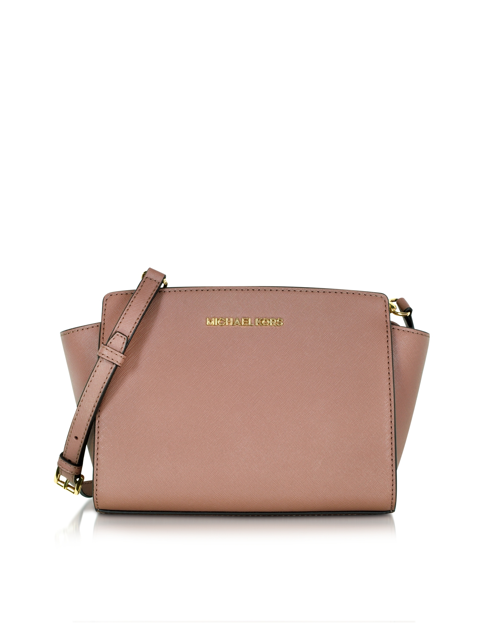 7f9c113d7e64 Lyst - Michael Kors Selma Saffiano Leather Medium Messenger Bag in Pink