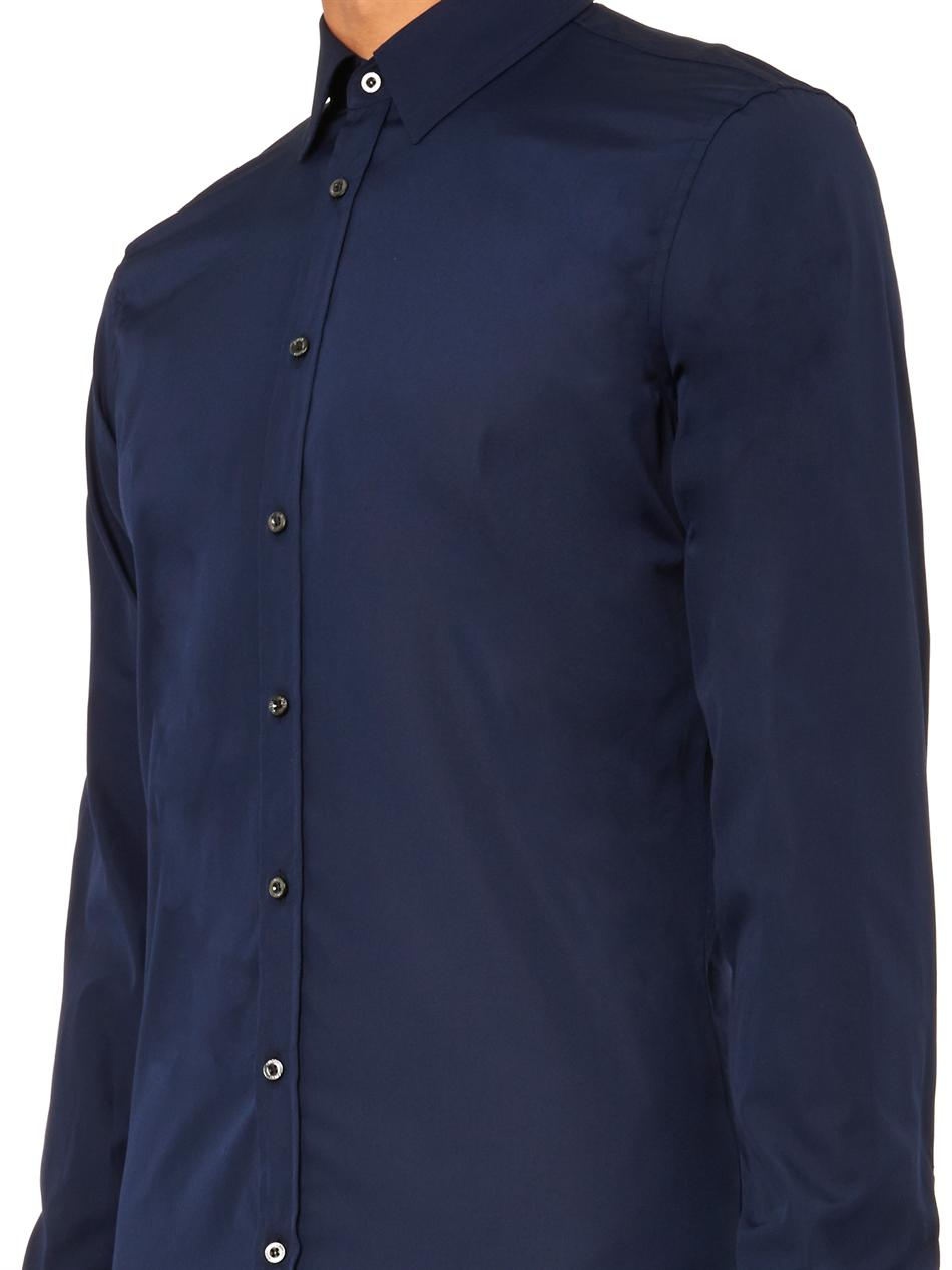Gucci slim fit cotton shirt in blue for men lyst for Slim fit cotton shirts