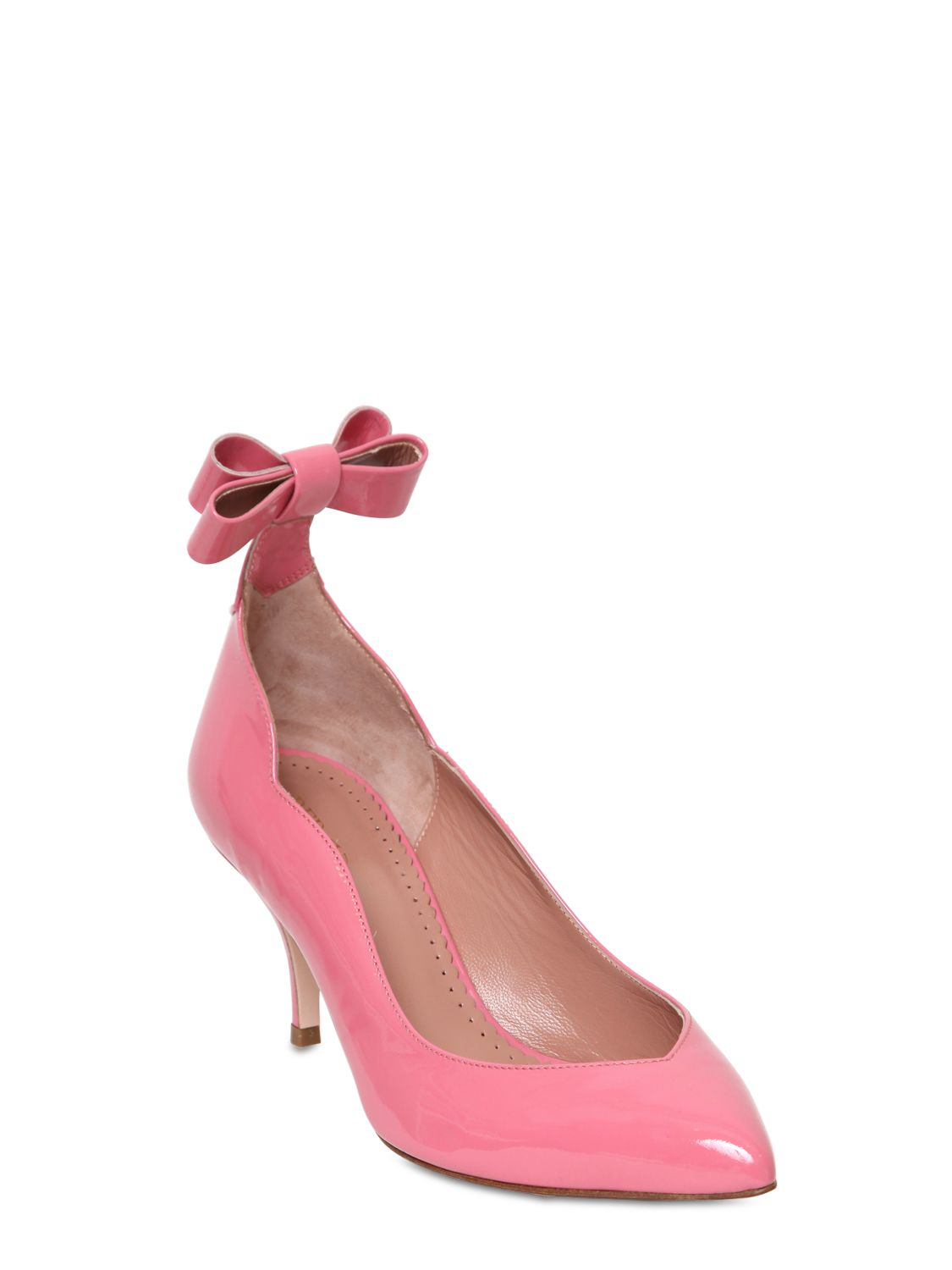 ad17a69252dd Lyst - RED Valentino 70Mm Patent Leather Bow Pumps in Pink