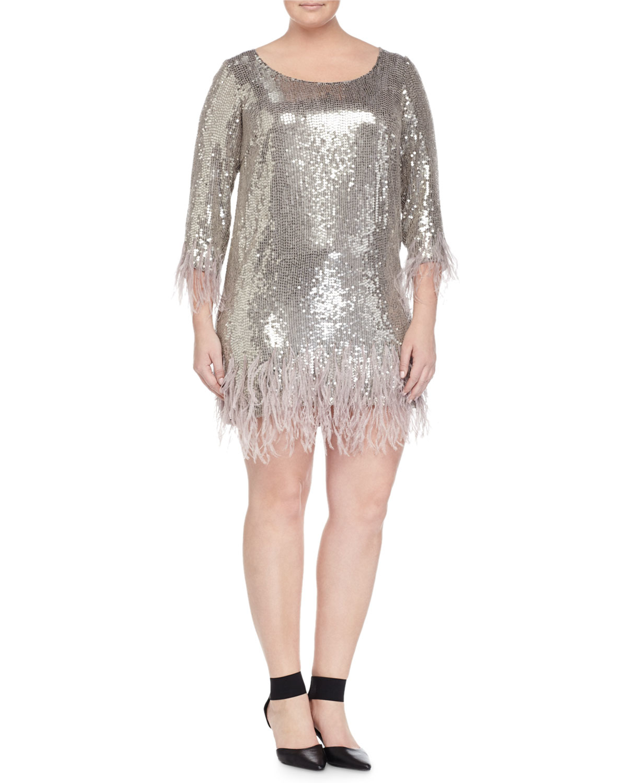 a2071d8c5 Marina Rinaldi Fatato Sequined Dress W/ Feather Trim in Gray - Lyst
