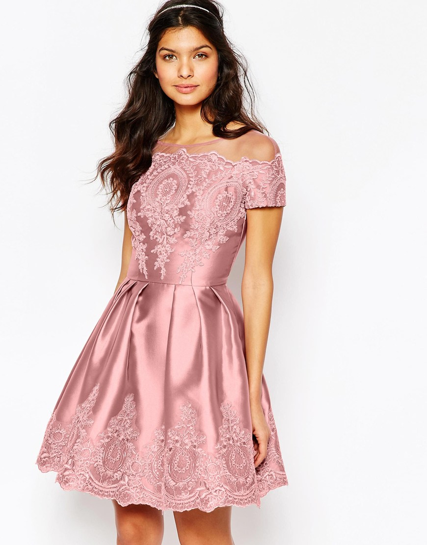 fbda63739b74 Lyst - Chi Chi London Midi Dress With Embroidery And Cap Sleeve in Pink