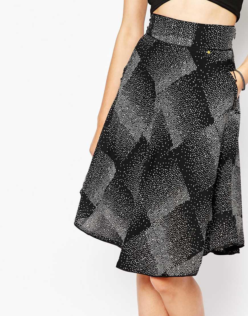 harlyn speckled print midi skirt in black lyst