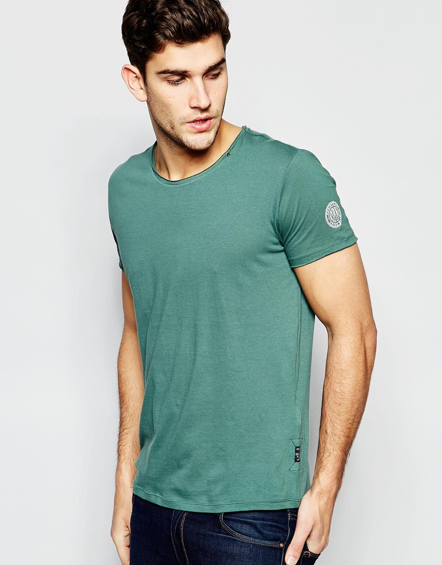 Lyst Replay T Shirt Wide Neck Laser Cut In Washed Green
