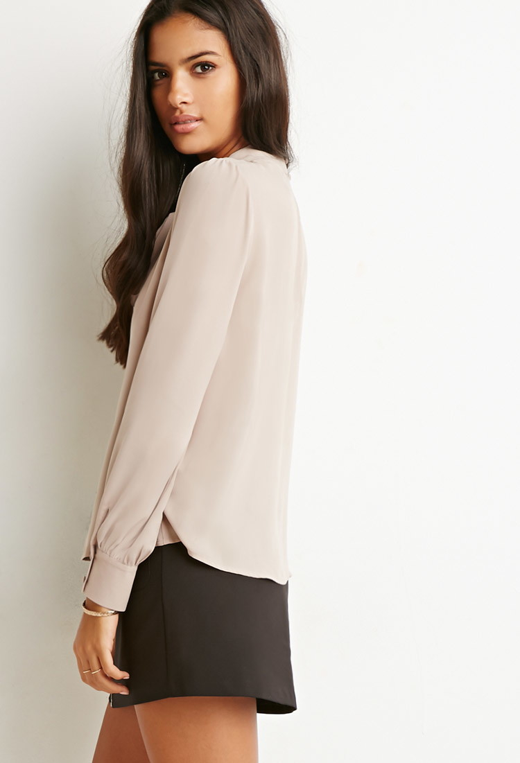 Lyst Forever 21 Bow High Neck Blouse In Natural