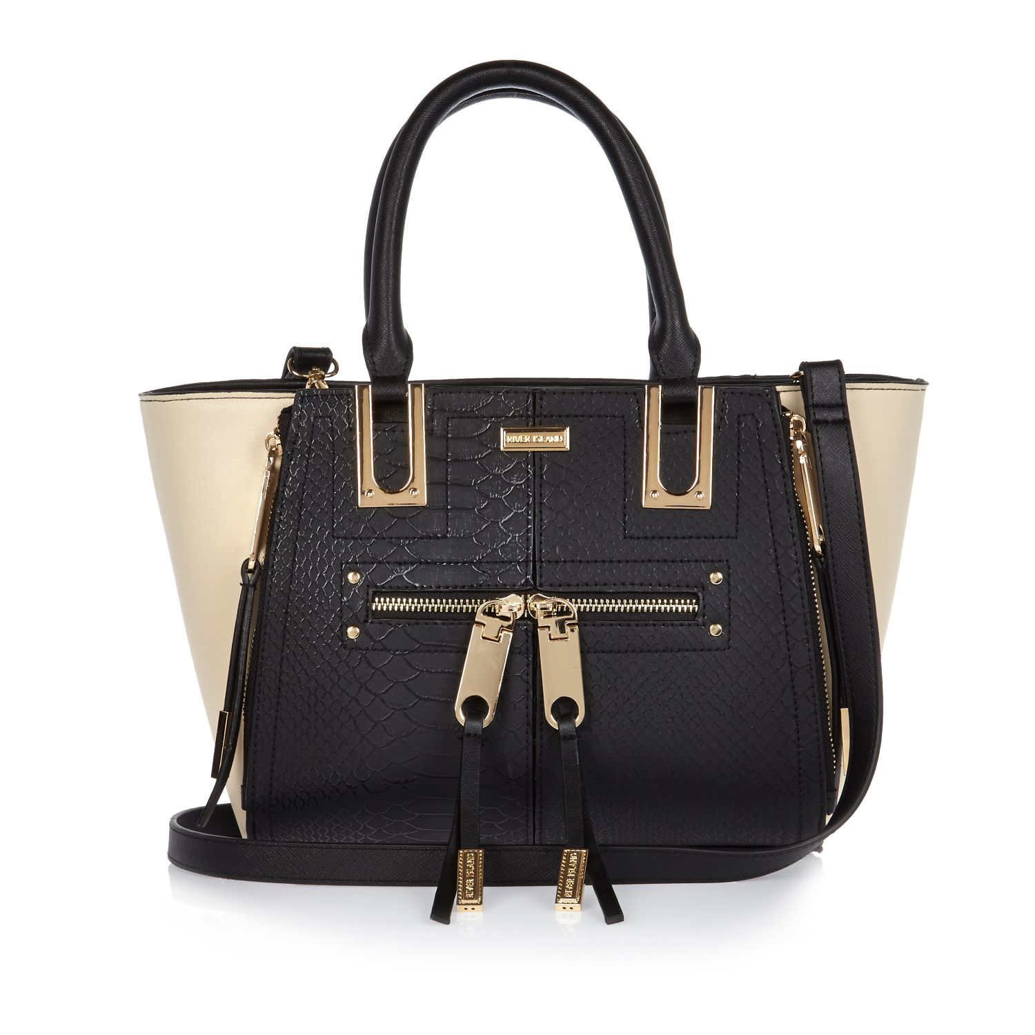 c512fe9a9fe2 ... Tj Maxx Plastic Tote Bags: River Island Black Mini Zip Winged Tote  Handbag In Black