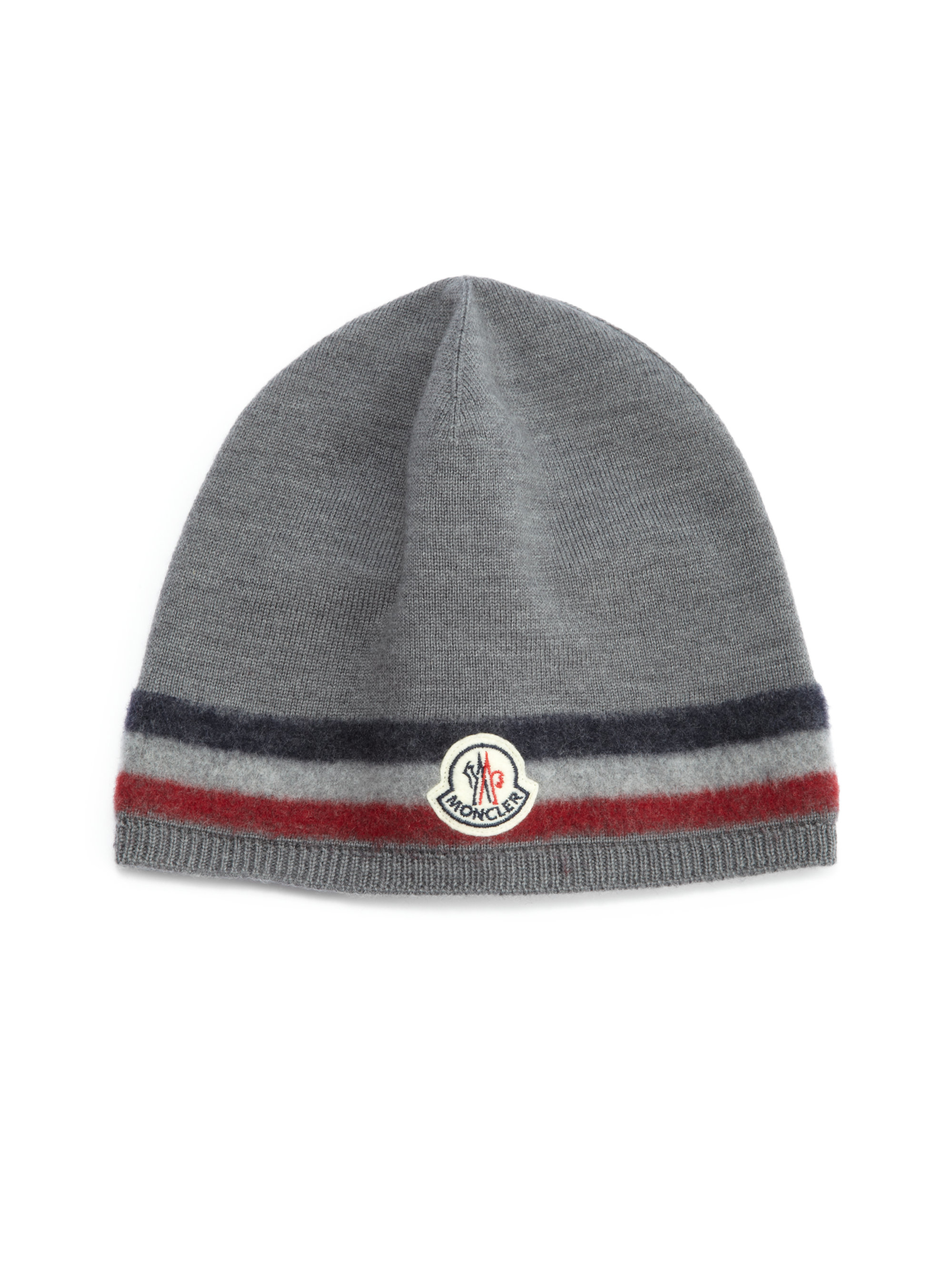 Lyst - Moncler Striped Wool Hat in Gray for Men 07f68943039