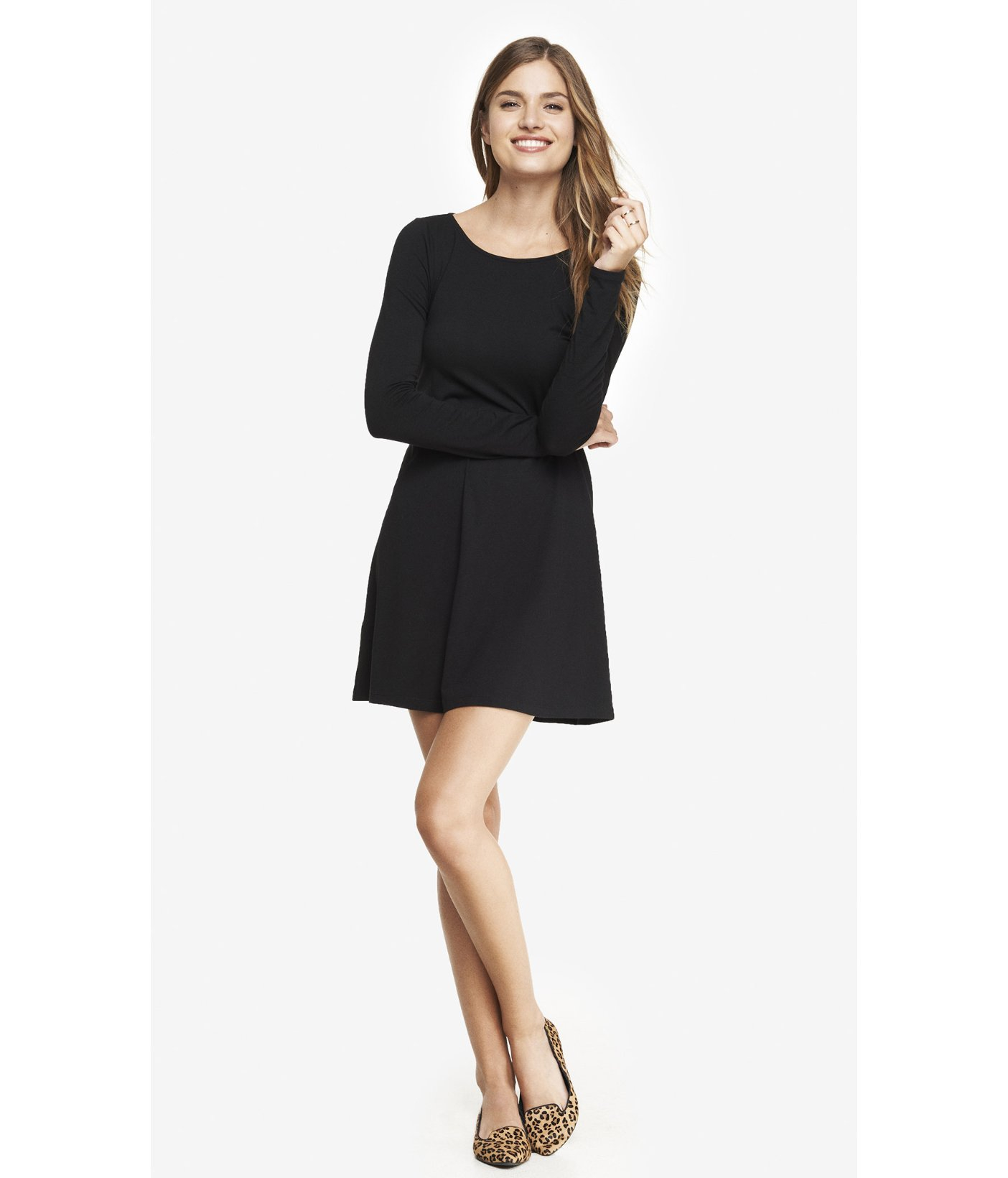 fbdb2bc30e0a8 Express Long Sleeve Zip Back Trapeze Dress - Black in Black - Lyst