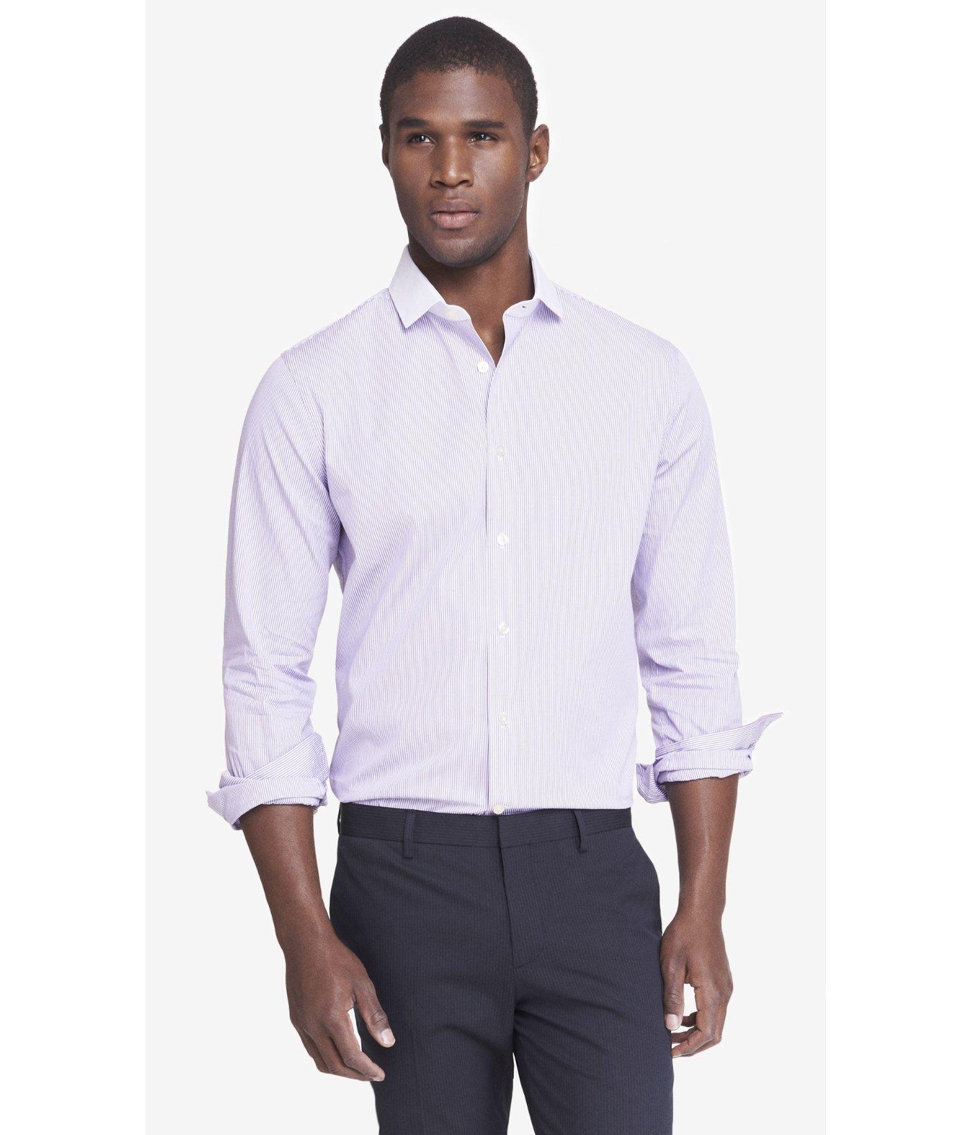 Lyst Express Slim Contrast Collar Pinstripe Dress Shirt