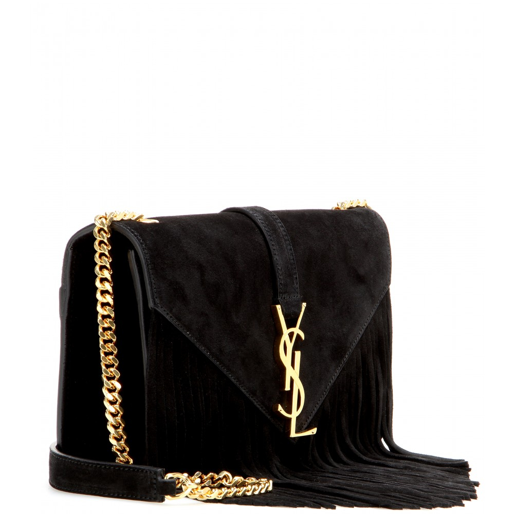 monogram suede fringe shoulder bag