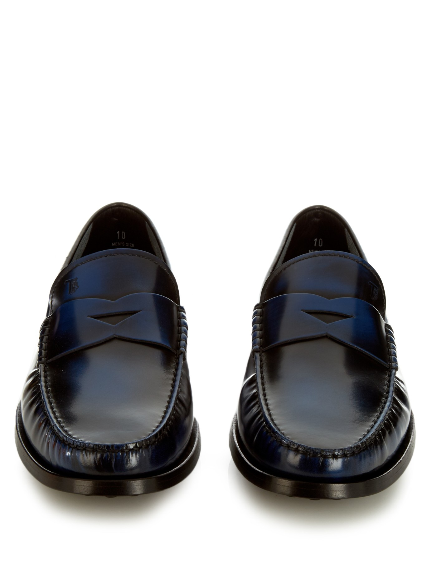 Lyst - Tod'S Spazzolato-leather Penny Loafers in Blue for Men