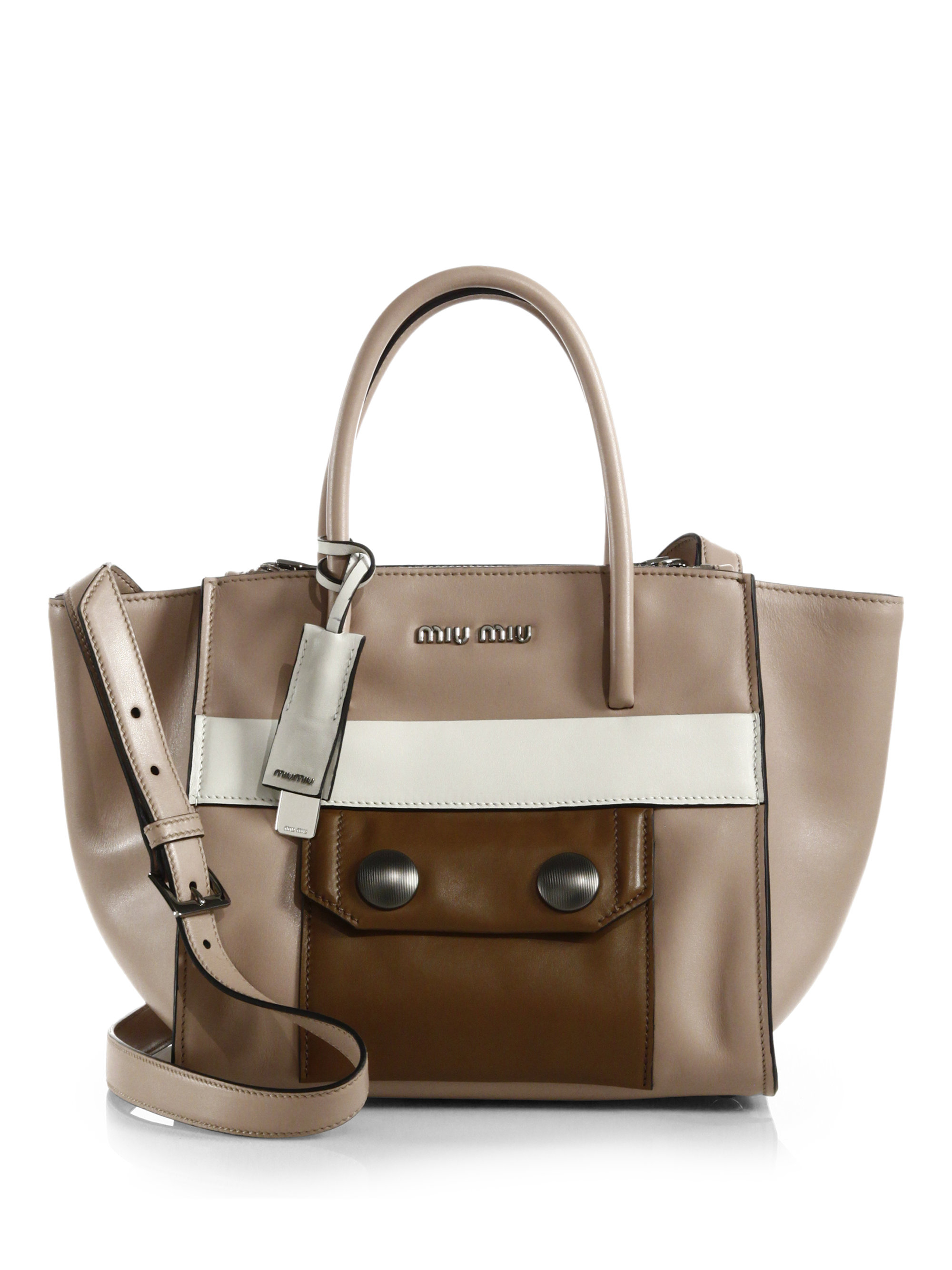 Miu miu Colorblock Twin-Pocket Tote in Brown (CAMMEO) | Lyst