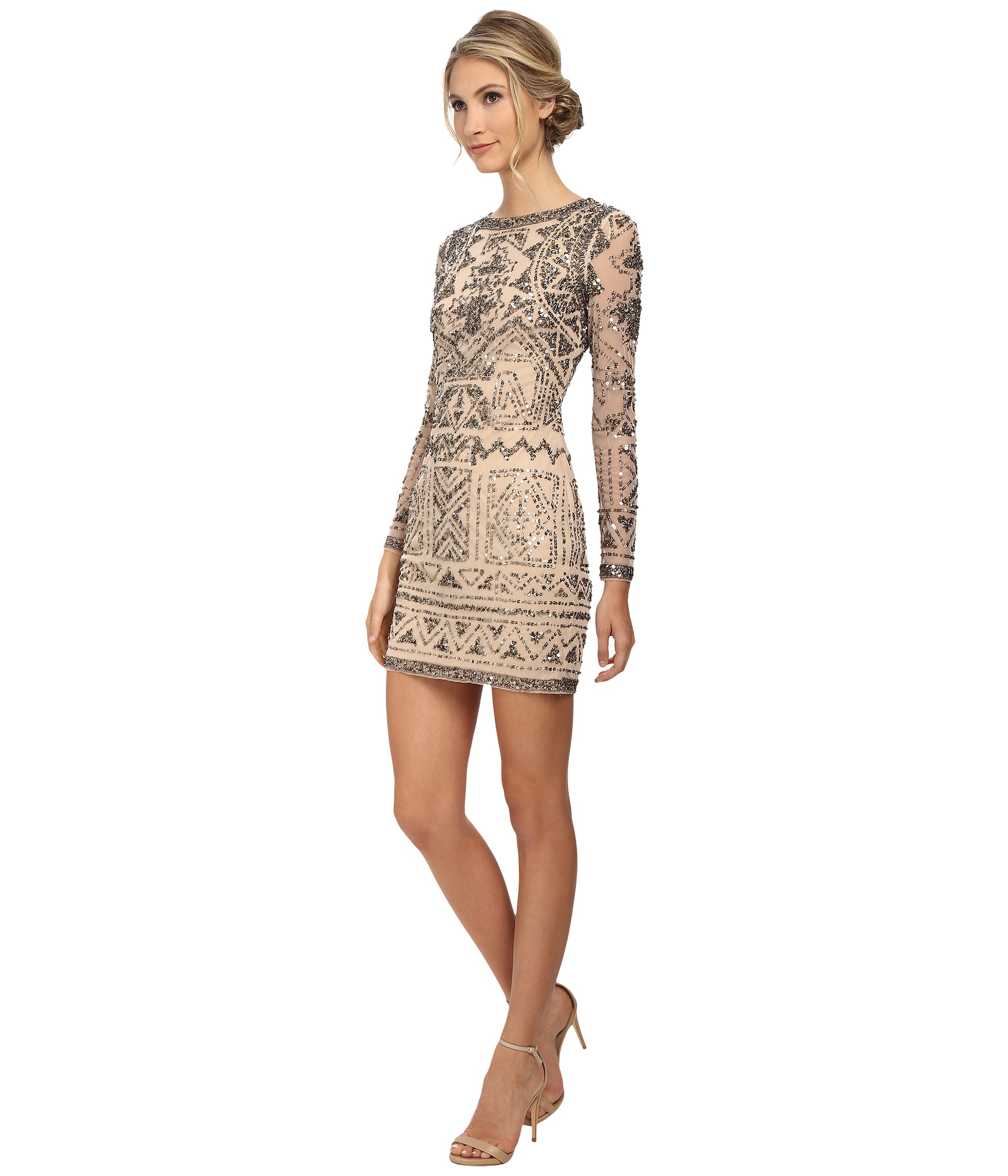 7eb3e85903d Adrianna Papell Long Sleeve Beaded Cocktail Dress in Natural - Lyst