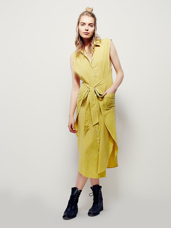 Lyst Free People Wrap Around Shirt Dress In Yellow