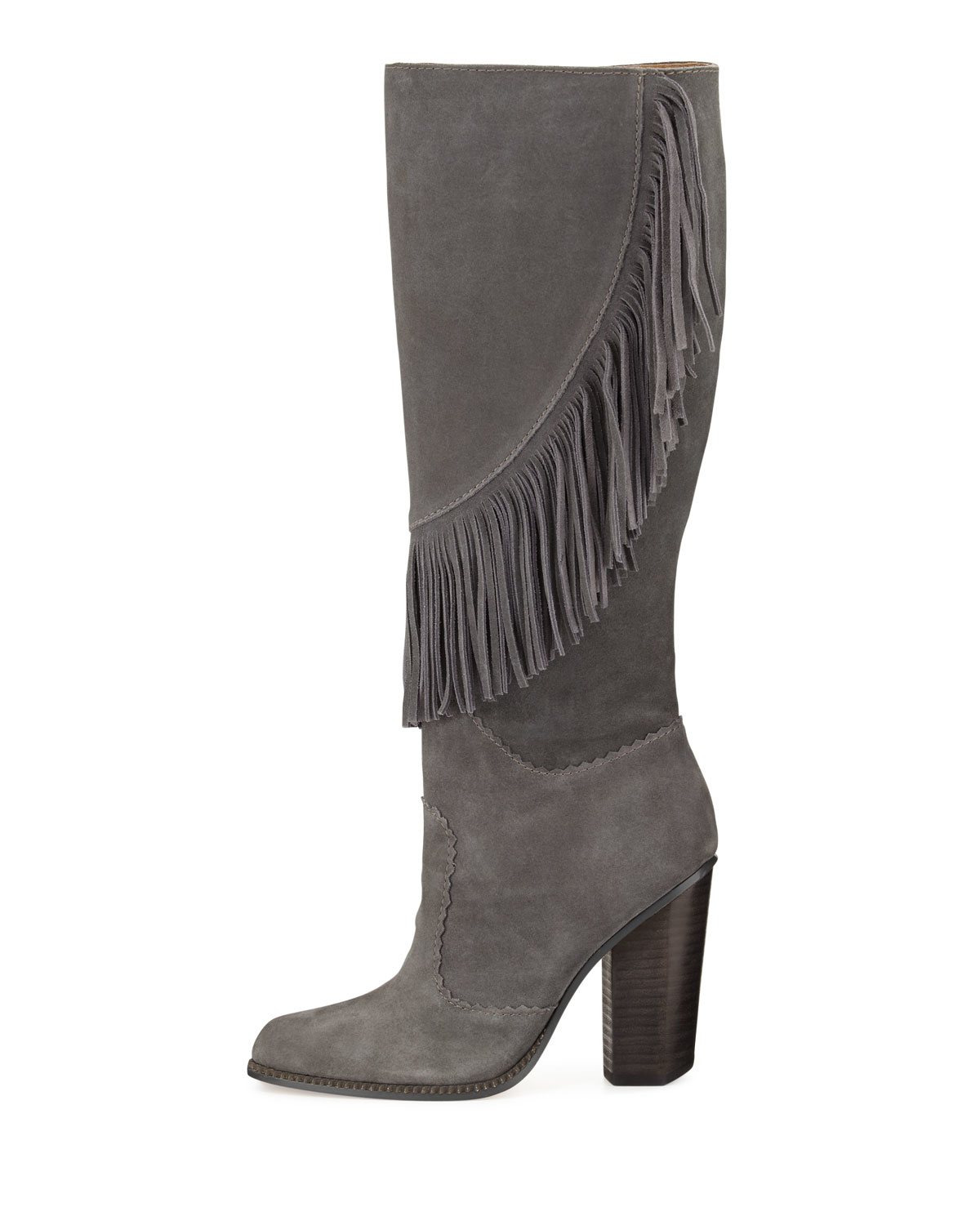 1744c5ff4b7 Lyst - Cynthia Vincent Fringed Suede Knee-High Boots in Gray