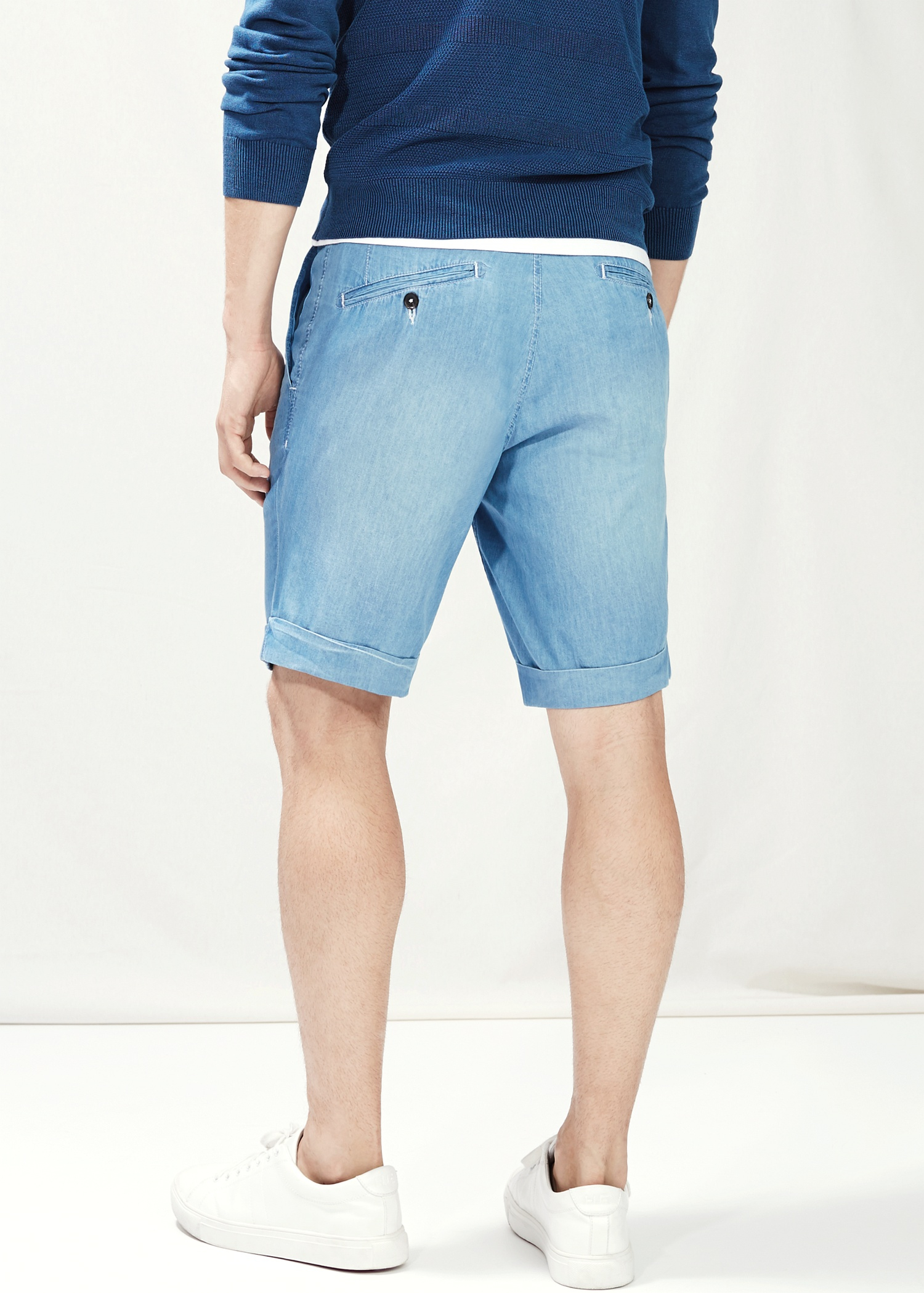 c41aa32dc Mango Chambray Bermuda Shorts in Blue for Men - Lyst