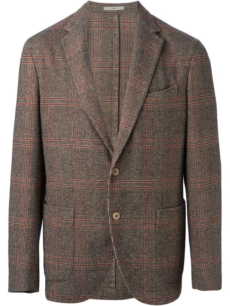 lyst boglioli plaid blazer in brown for men. Black Bedroom Furniture Sets. Home Design Ideas