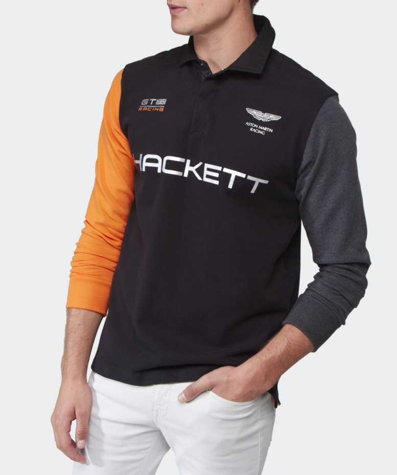 hackett aston martin racing long sleeve polo shirt in black for men lyst. Black Bedroom Furniture Sets. Home Design Ideas