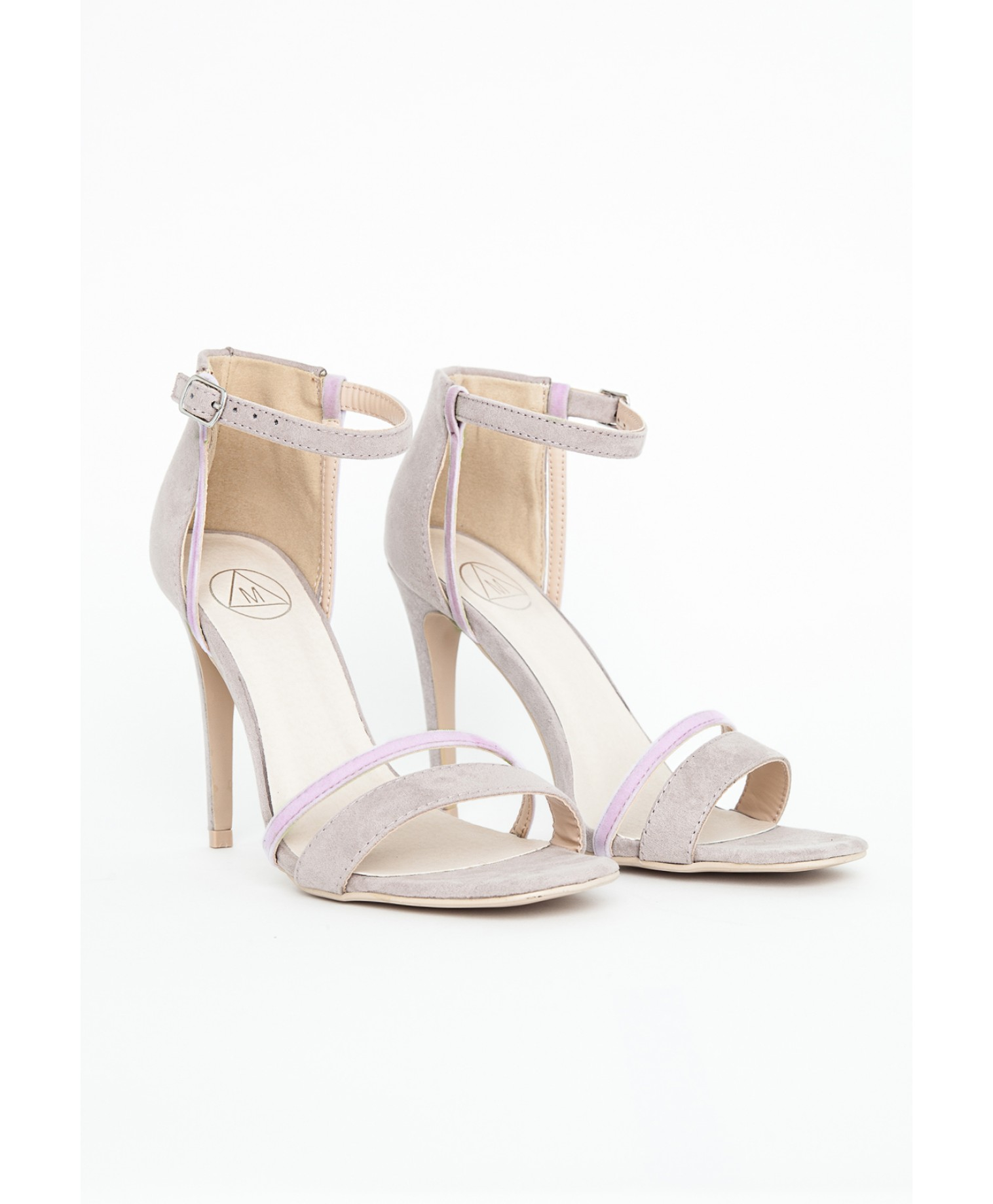 Lyst - Missguided Victoria Grey Contrast Strappy Heeled Sandals in ...