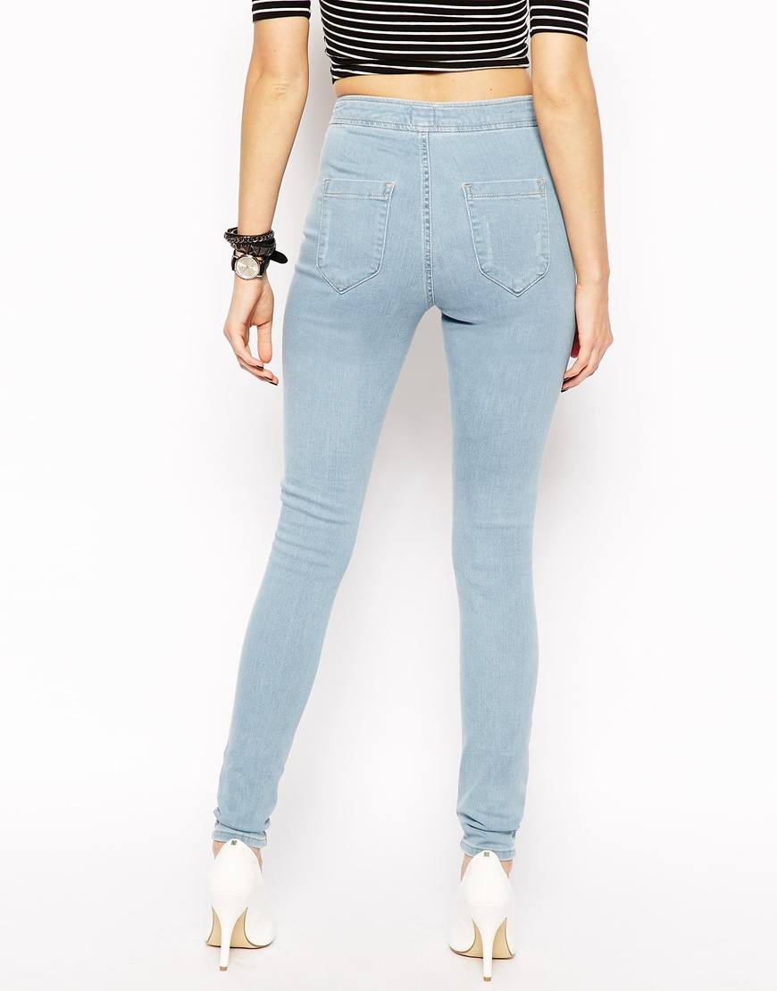 Asos Jameson High Waist Denim Jeggings In Distressed Light Wash ...