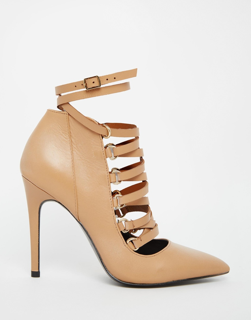 f31b03bdefd5 Lyst - ALDO Zelicia Tan Suede Ghillie Tie Heeled Shoes in Natural
