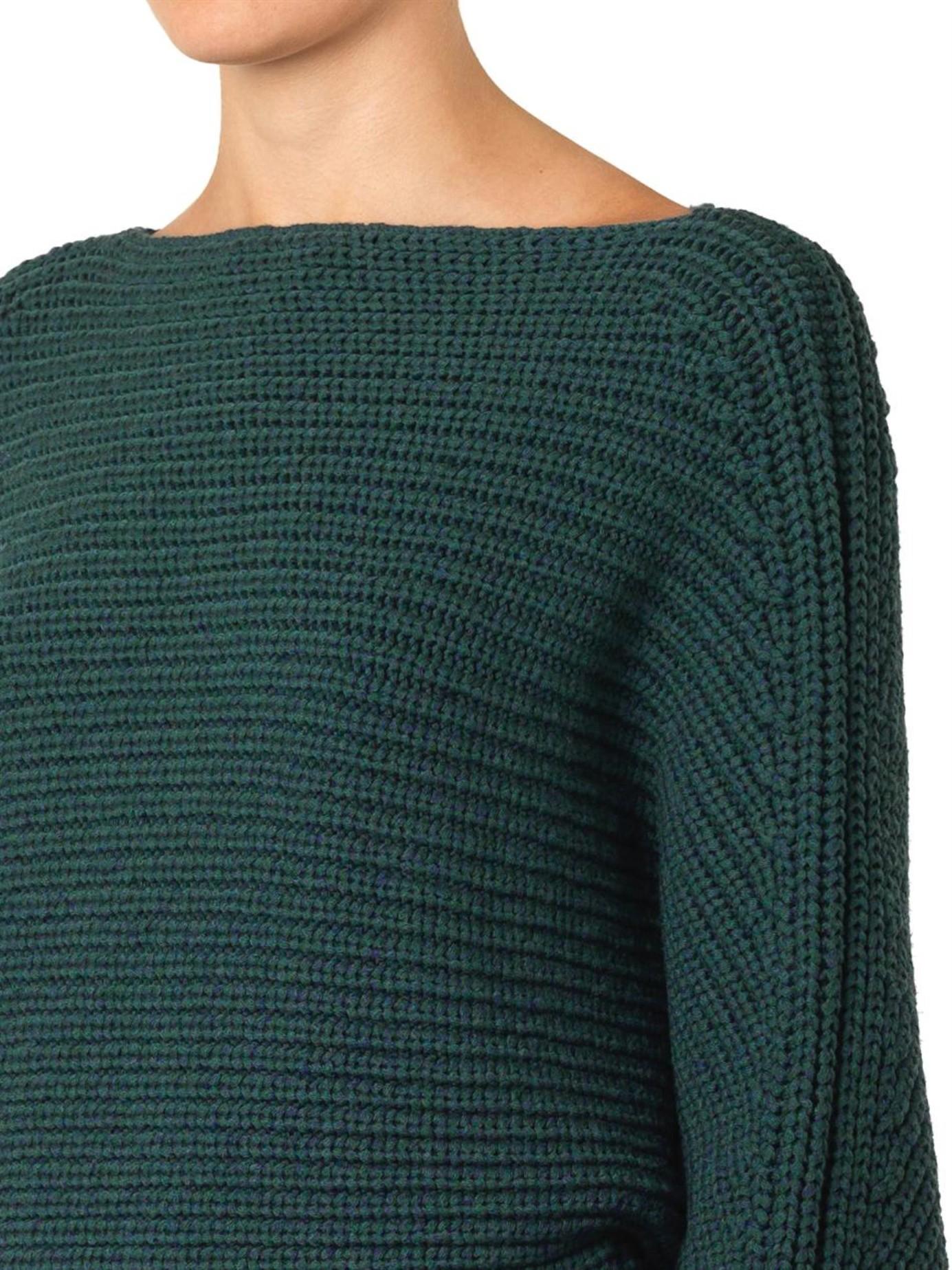 Alexander wang Tubular-Knit Wool Cropped Sweater in Green | Lyst