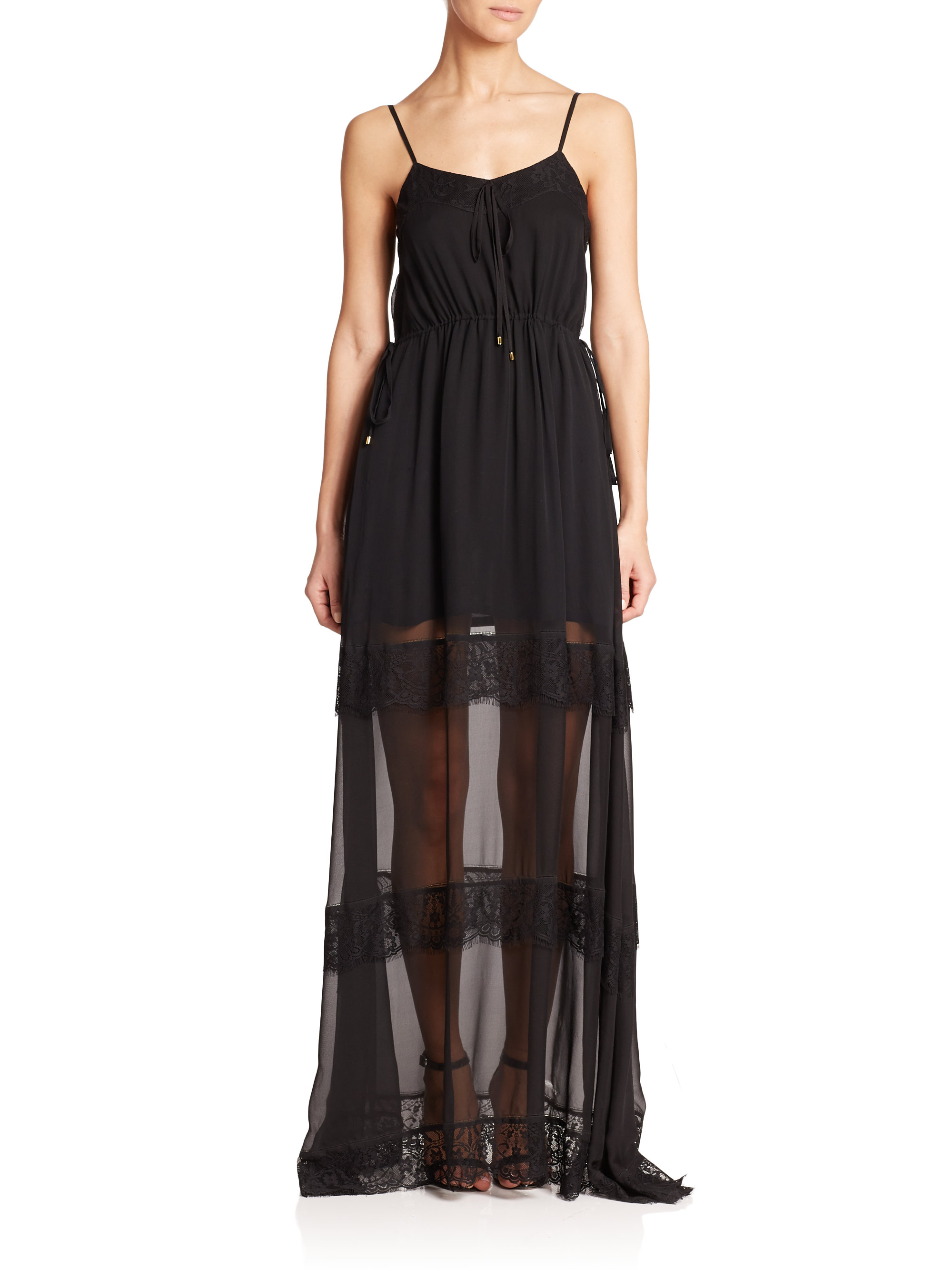 haute hippie lace detail silk maxi dress in black lyst