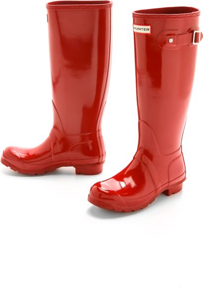 Hunter Original Tall Gloss Boots Military Red In Red