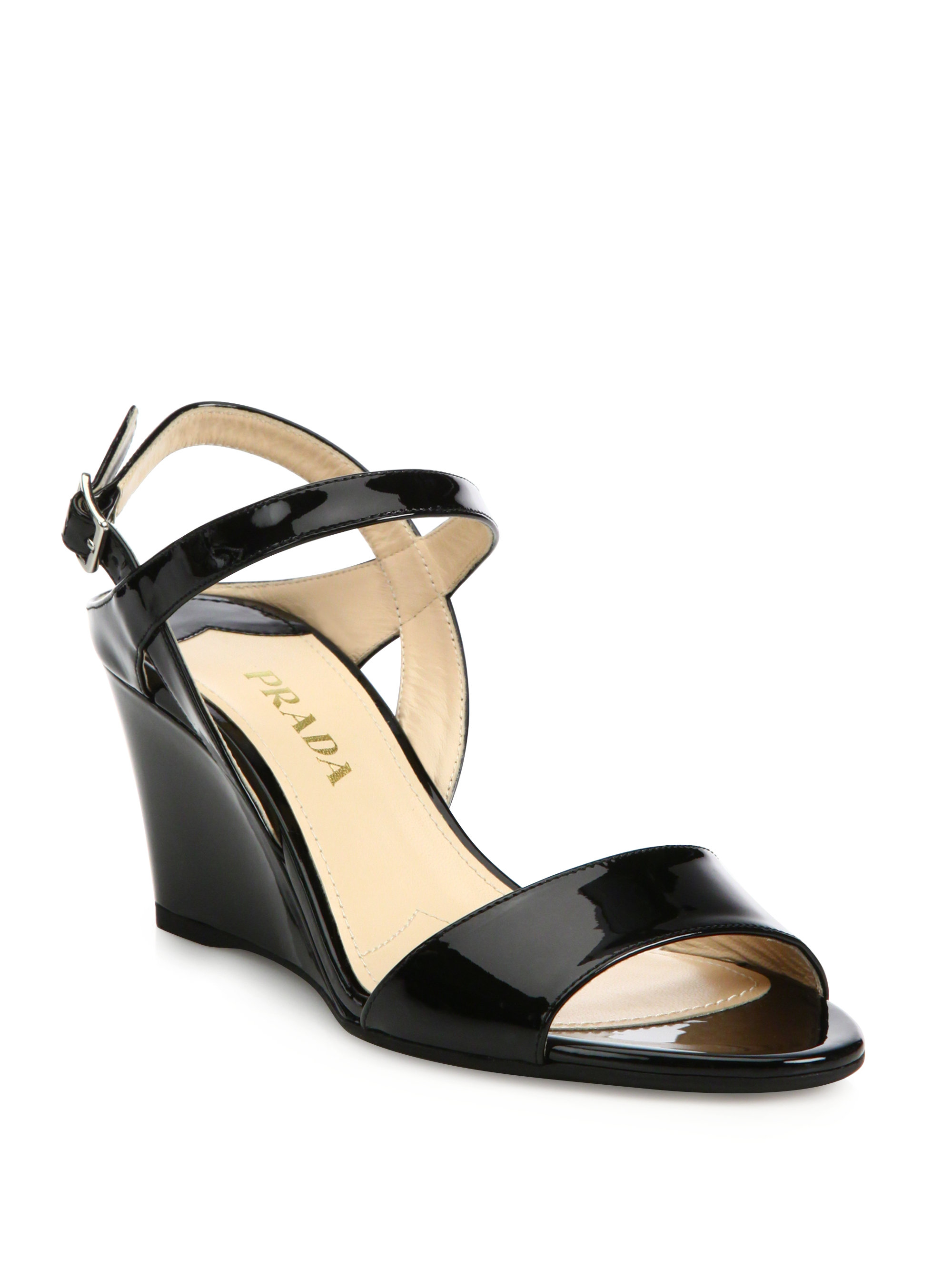 29c4d33e7f1e Lyst - Prada Patent Leather Ankle-strap Wedge Sandals in Black
