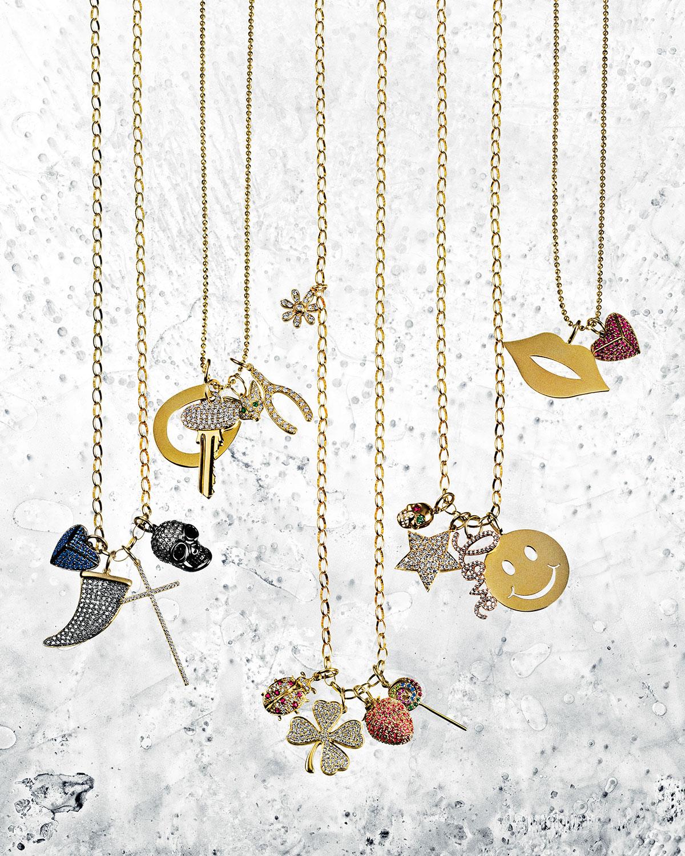 Sydney Evan Small Diamond Clover Pendant Necklace In