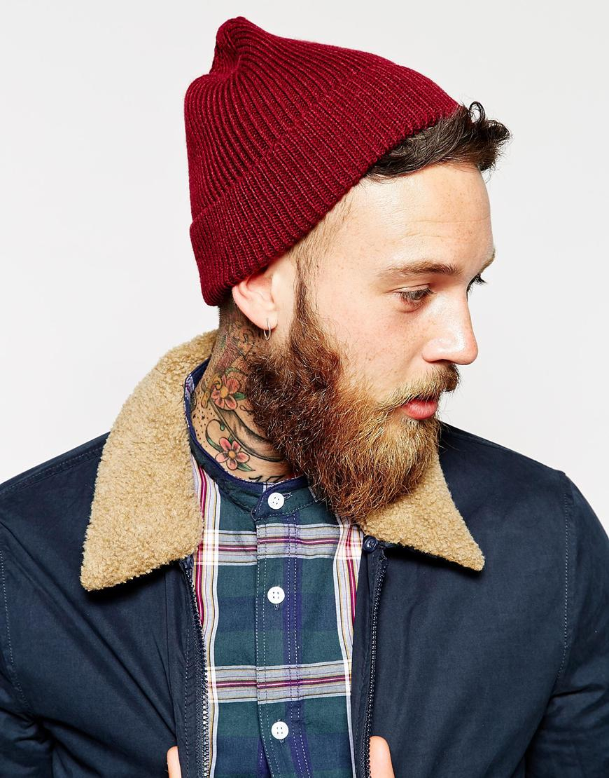 d3bd006b9508e5 ASOS Fisherman Beanie Hat In Red in Red for Men - Lyst