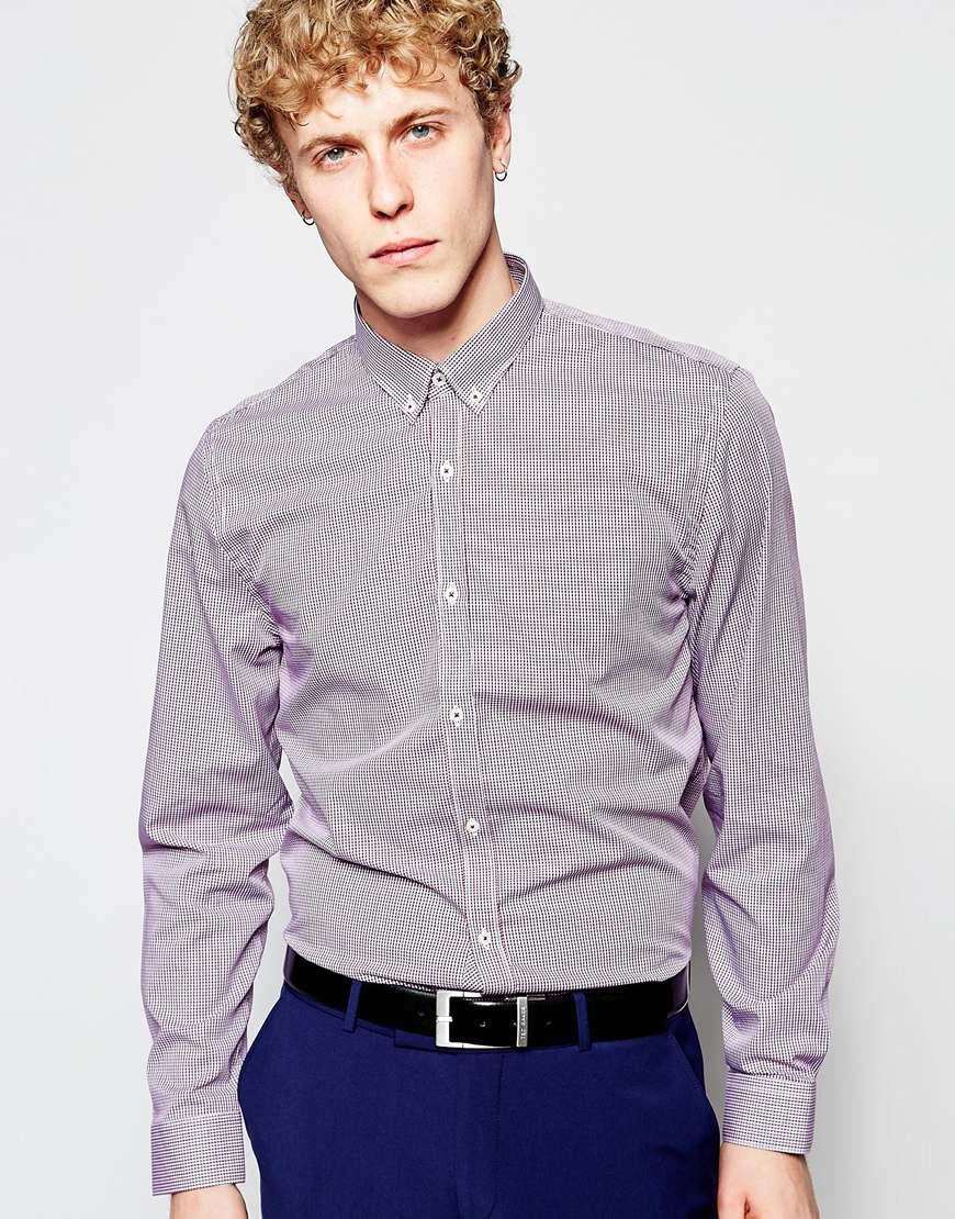 Lyst Ben Sherman Mini Check Shirt In Gray For Men