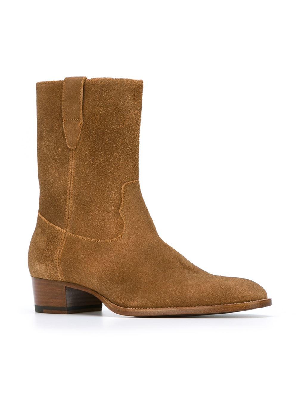 saint laurent 39 hedi 39 ankle boots in beige for men nude neutrals lyst. Black Bedroom Furniture Sets. Home Design Ideas