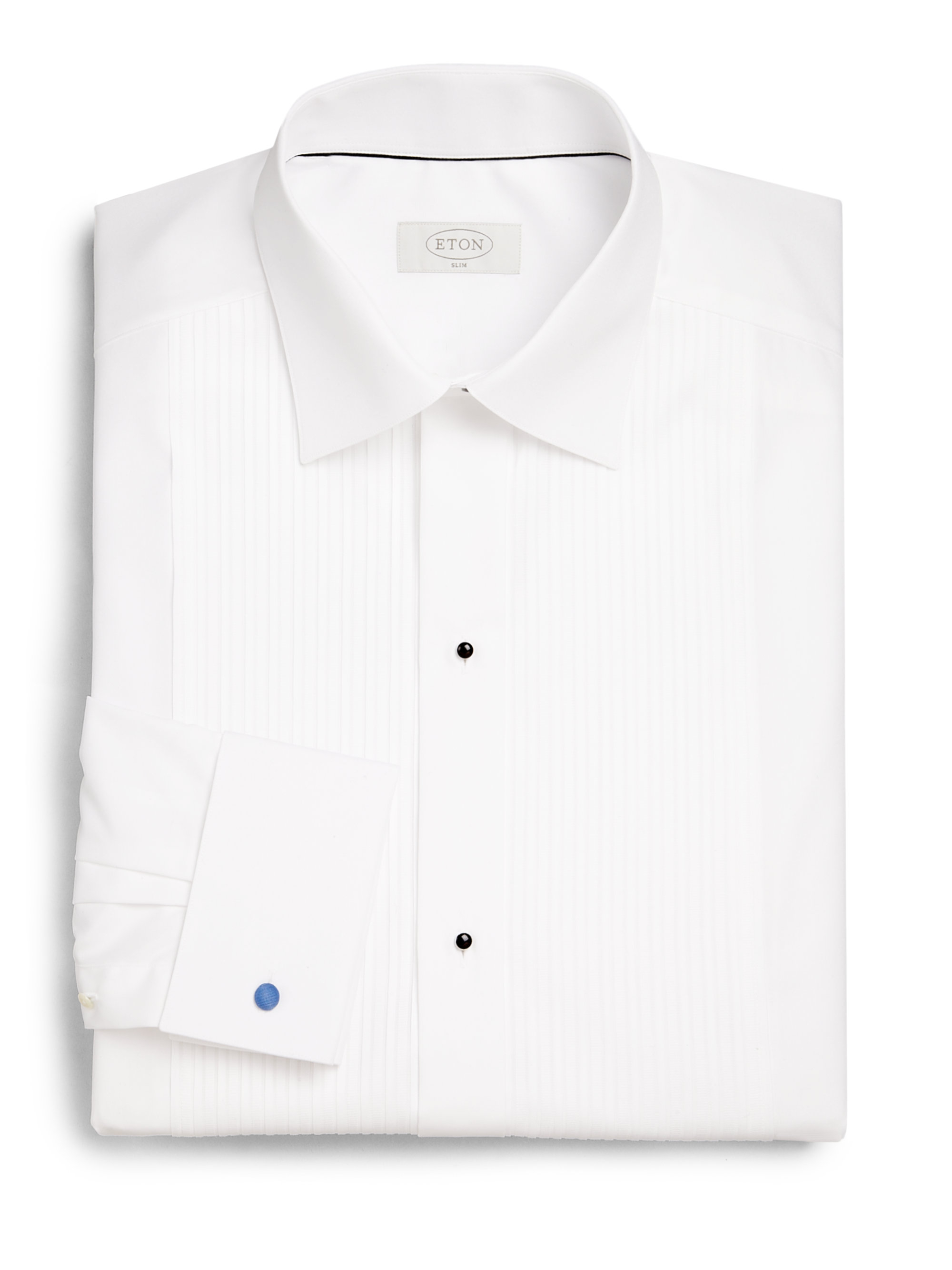 Eton of sweden slim fit french cuff pleated dress shirt in White french cuff shirt slim fit