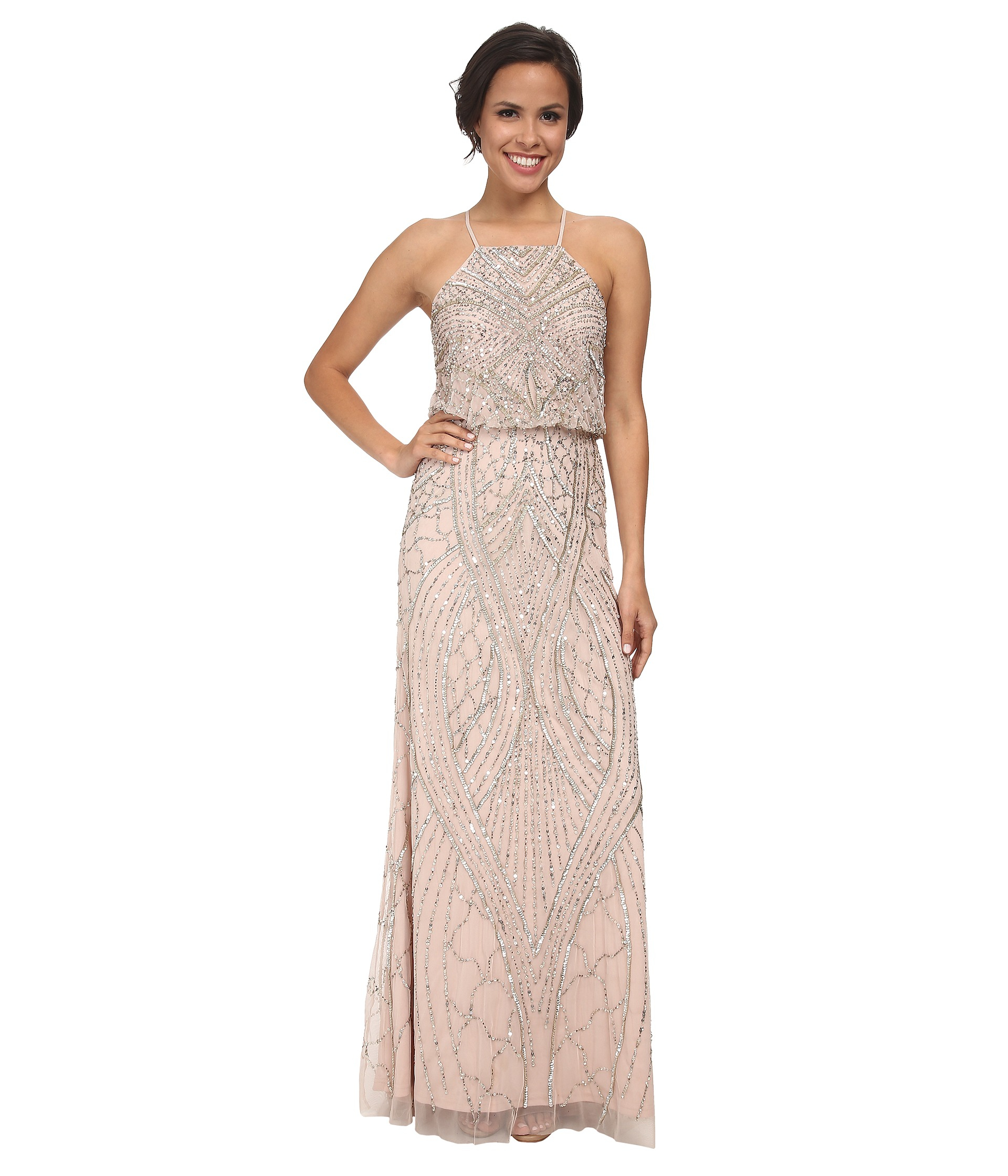 Lyst - Adrianna Papell Halter Fully Beaded Gown in Pink