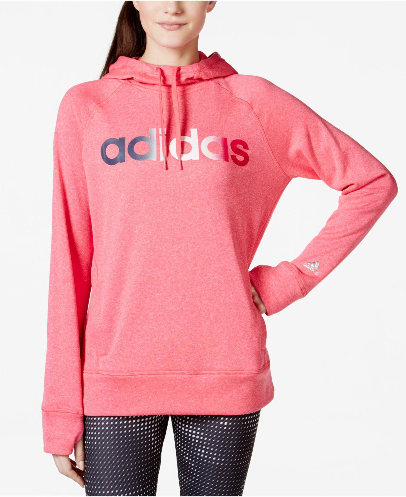 b6216828f932 Lyst - adidas Climawarm® Ultimate Fleece Logo Hoodie in Pink