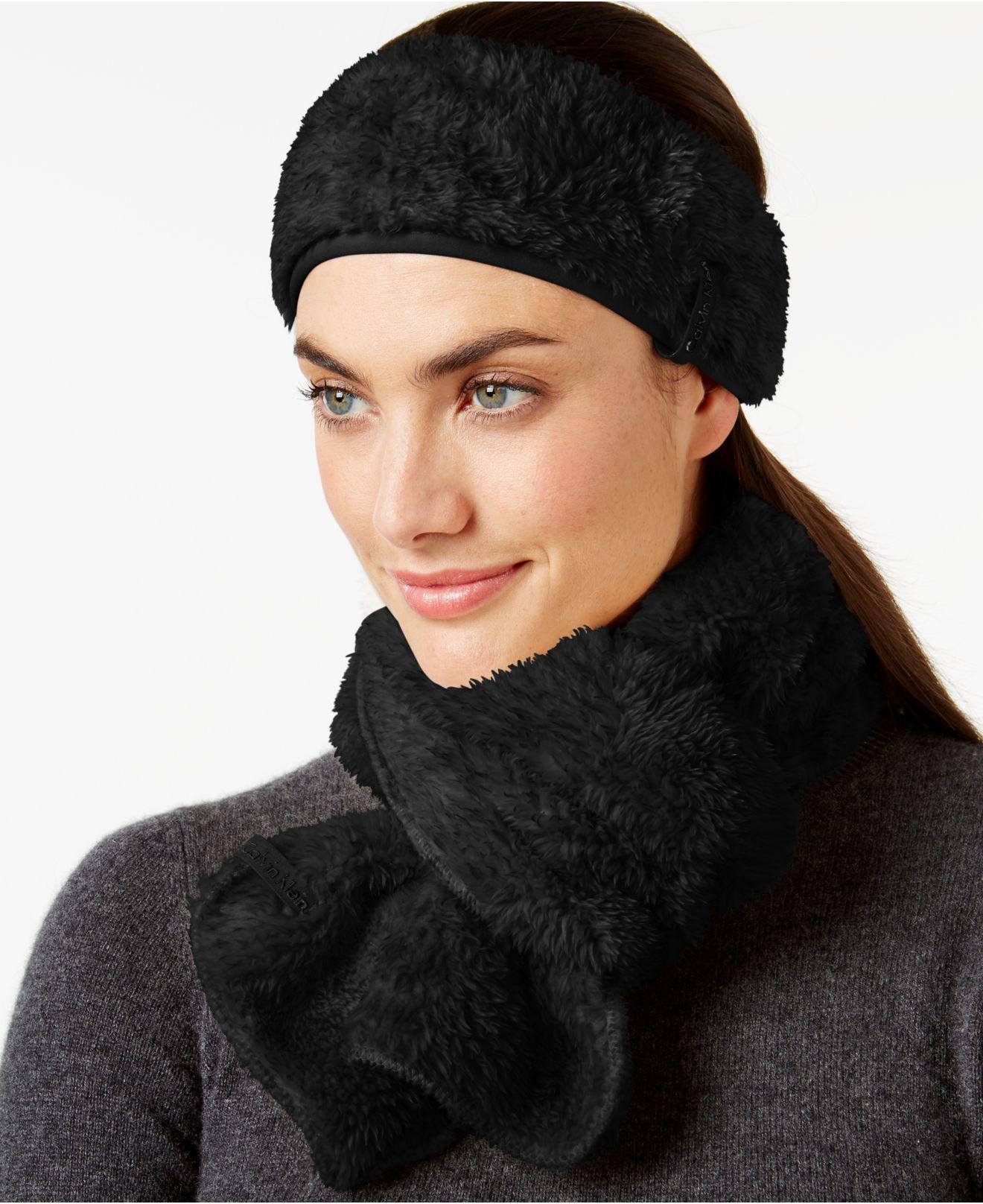 0883178aeec Lyst - Calvin Klein Faux Fur   Fleece Active Headwrap And Scarf Set ...