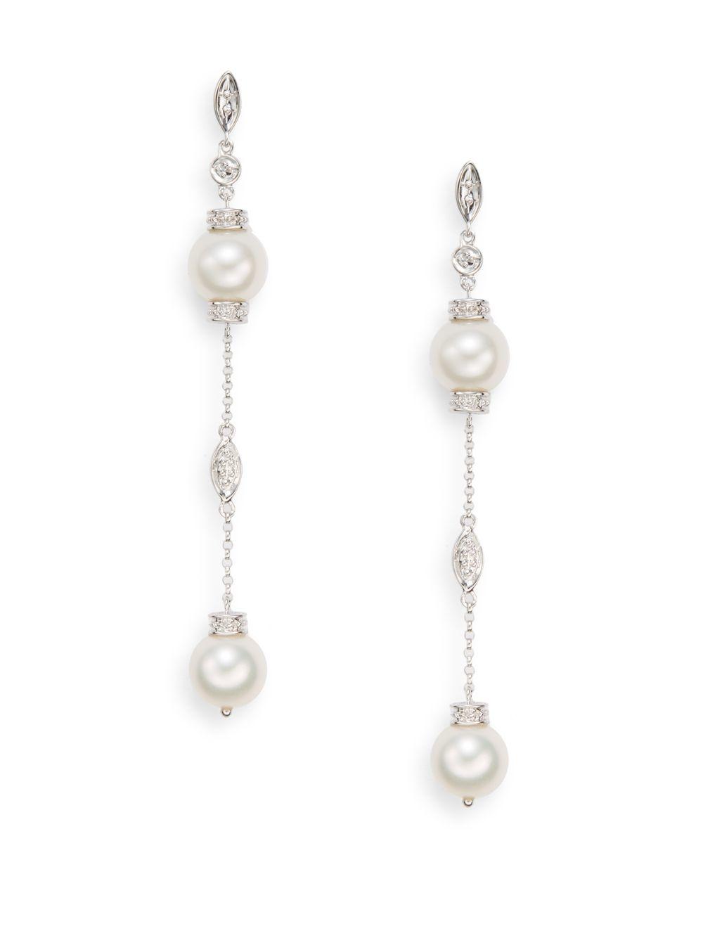 Effy 8 5mm Freshwater Pearl 14k White Gold Linear Earrings In