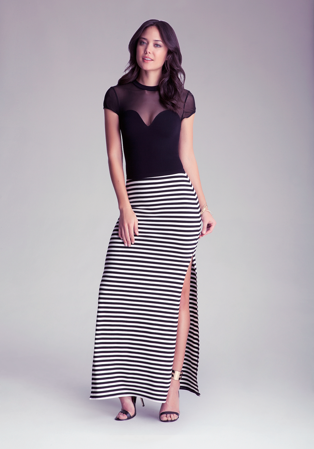 Bebe Double Side Slit Maxi Skirt in Black | Lyst