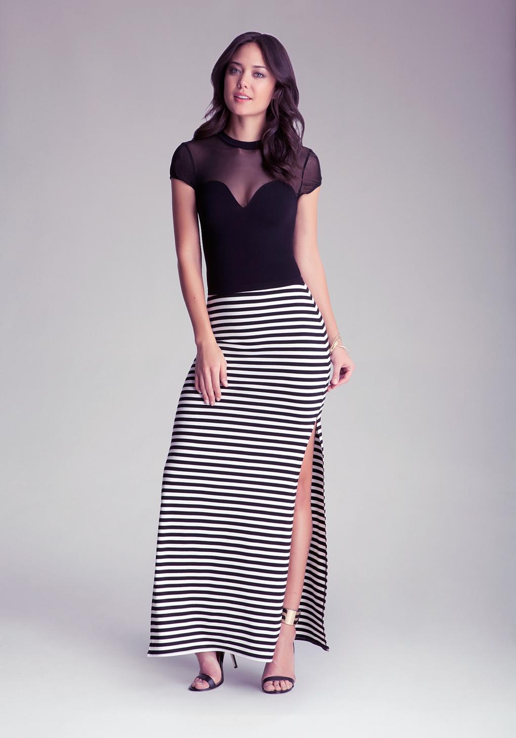 Bebe Double Side Slit Maxi Skirt In Black Lyst