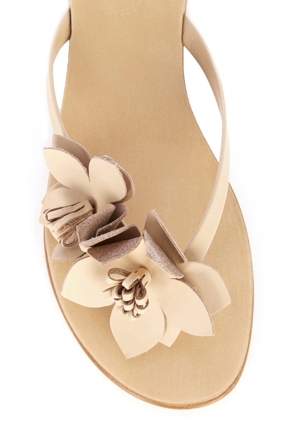 4ae402f316d0 Lyst - Oasis Leather Flower Flip Flop in Metallic